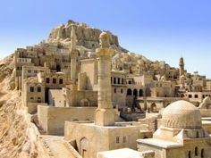 Not unlike the city of Emeya.  Old medieval Middle East city on the hill Stock Photo - 957877 Iran Tourism, Fantasy City, Walled City, Light Of The World, City Aesthetic, Ancient Ruins, Holy Land, Fantasy Landscape, Beautiful Buildings