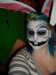 Halloween makeup creepy bunny rabbit face paint