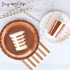 Rose Gold Birthday Party Supplies A combination of solid rose gold and striped rose gold party supplies for adult birthday party and events. Rose Gold Party Supplies, Baby Shower Party Supplies, Rose Gold Theme, Rose Gold Decor, Gold First Birthday, Gold Birthday Party, 24th Birthday, Birthday Parties, Party Plates