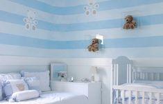 Sky blue horizontal stripes in a boy's nursery