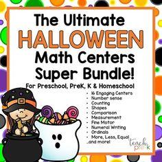 Halloween Math Centers Super Bundle for Preschool, PreK, K, & Homeschool