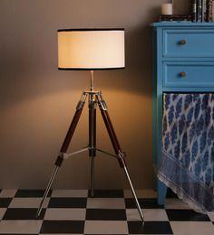 Ethnic Roots Brown & White Cotton & Sheesham Wood Tripod Floor Lamp