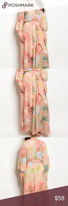 Plus Floaty Floral Maxi Curve size elegant long sleeve print chiffon maxi dress with a v neckline.  100% Polyester  www.hailjax.com Fabulous.Affordable.Fashion Xtaren Dresses Maxi
