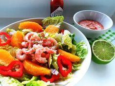 salat med appelsin og reker