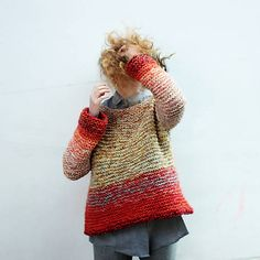 diEnes / hand knitted chunky colorful pullover, OOAK handmade fashion
