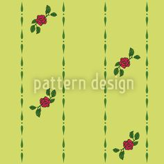 Roses On Green Repeat Pattern Vector Pattern, Pattern Design, Swiss Design, Green Backgrounds, Red Roses, Patterns, Floral, Block Prints, Flowers