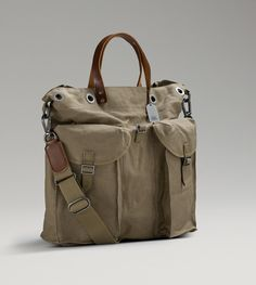 Mens Military Tote By UGG Australia - this is very different and I think I want one! Leather Briefcase, Leather Bag, Canvas Shopper Bag, Backpack Bags, Tote Bag, Cotton Bag, Canvas Leather, Fashion Bags, Bag Accessories