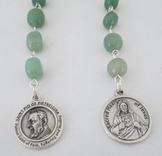 Padre Pio Rosary Novena, Patron Saint of Healing, Devotional Chaplet, Catholic Rosary, Sacred Heart, Green Aventurine Rosary, Etsy UK - pinned by pin4etsy.com