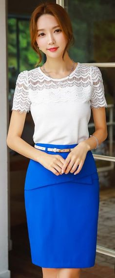 StyleOnme_Belted Front Flap Pencil Skirt #electric #blue #summer #look #elegant…