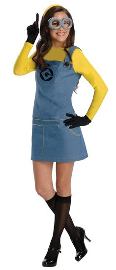 Cute minion costume- I would do overalls... More minion-y and less slutty, though this picture isn't that bad.
