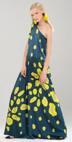 THEO One shoulder Floral Silk Maxi Dress
