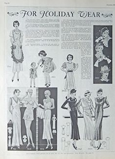 Fashion Page, 30's Full Page B&W Illustration, print art, (for Holiday wear) Original Vintage 1933 the Farmer's Wife Magazine Art