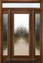 Mahogany Exterior Doors with Sidelights and Transoms 68. I love the glass....