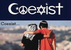 Coexist. a Muslim child on the left and a Jewish child on the right, represents one of the longest conflicts in world religion, that is the conflict for control of Holy sites in Jerusalem between Israel a Jewish state  and Palestine an Islamic state.