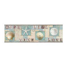 wall paper for walls with seashells | Starfish and Seashells Wallpaper Border, aqua beach nautical decor ...