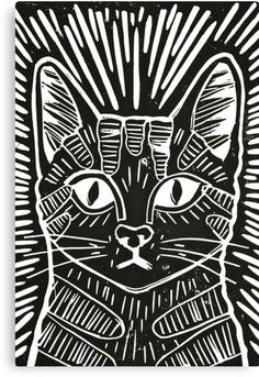 "Cat Portrait Lino Print"" Canvas Prints by Adam Regester 