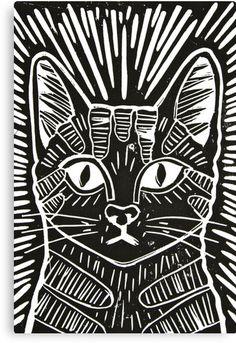 "Cat Portrait Lino Print"" Canvas Prints by Adam Regester | Redbubble More"