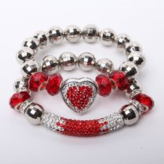 Multi-Color Red and White Crystal Rhinestones Heart and Bar Bracelet Set from LaTor-Gray Designz for $12.00