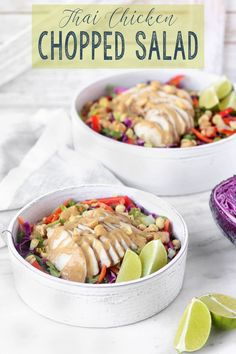 Thai Chopped Chicken Salad is exploding with flavors and textures. Crispy purple cabbage, Juicy Chicken, sweet carrots, crunchy peanuts and spicy peanut sauce. A make-ahead friendly lunch option. via Sissom Healthy Lunches For Work, Healthy Snack Options, Make Ahead Lunches, Healthy Snacks, Work Lunches, Healthy Eating, Healthy Recipes, Clean Recipes, Lunch Recipes