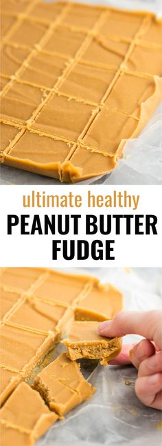 Ultimate healthy peanut butter fudge recipe (vegan, gluten free) An easy dessert you don't have to feel guilty about! Ultimate healthy peanut butter fudge recipe (vegan, gluten free) An easy dessert you don't have to feel guilty about! Vegan Sweets, Healthy Sweets, Vegan Desserts, Easy Desserts, Delicious Desserts, Dessert Recipes, Healthy Candy, Dessert Healthy, Recipes Dinner