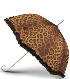 Leopard umbrella with ruffles. I never bother to use one but if I had something this cute, that might be different.