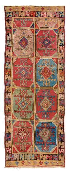 Yomud Multi-gul Main Carpet Turkmenistan first half 19th century 8 ft. 10in. x 5ft. 8in., 270 x 173 cm Lit.: H. Sienknecht, 'A Turkic Heritage, The Development of Ornament on Yomut C-Gul Carpets', in HALI 48, p. 30 footnotes no. 3-7. Condition: good, some areas low pile, very few small repairs Wool pile, wool warp, wool weft Estimate: € 50.000 – 70.000