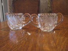 OLD ANTQUE HEAVY GLASS SUGAR & CREAMER SUNFLOWER CUT GLASS PATTERN
