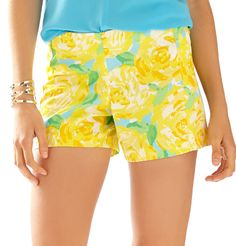 Lilly Pulitzer 5 Inch Deenie Short in Sunglow Yellow First Impression Small
