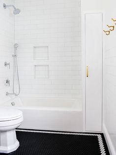 Our Skinny Space Storage Solution for the Bathroom | Yellow Brick Home | Bloglovin'