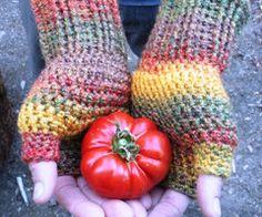 Unisex crochet fingerless gloves wrist warmers in fall by luvbuzz