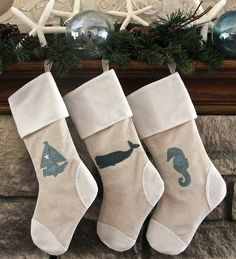 Laurelies Christmas Stockings Coastal Collection: Whale, Sailboat OR Seahorse.