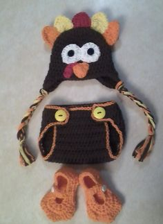 turkey hat with matching diaper cover and bird by megscutekidshop, $43.00