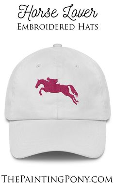 66b55d8986c embroidered Horse Lover hats - love the hot pink show jumping or hunter  jumper horse and
