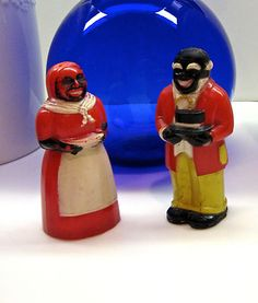 Aunt Jemima Mammy Uncle Moses Salt & Pepper Shakers F & F Mold & Die Works Black