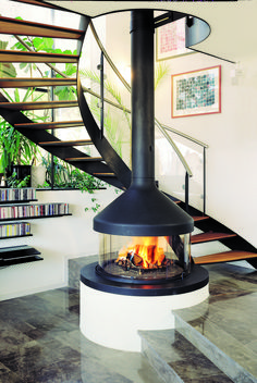 CENTRAL FIREPLACE WITH PANORAMIC GLASS MEIJIFOCUS BY FOCUS | DESIGN DOMINIQUE IMBERT