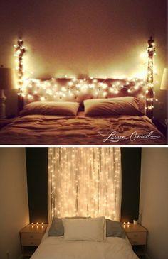 Christmas Lights Headboard :: so pretty! | #christmaslights #headboard