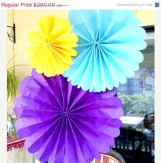 flat tissue paper flowers
