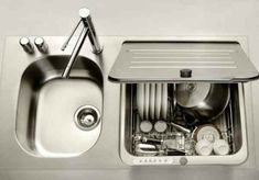 Good tiny house kitchen sink plus tiny dishwasher