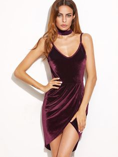 Burgundy Backless Ruched Velvet Wrap Cami Dress