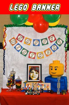 LEGO Birthday Party Printable Banner  by ewehooo by ewehooo, $5.00