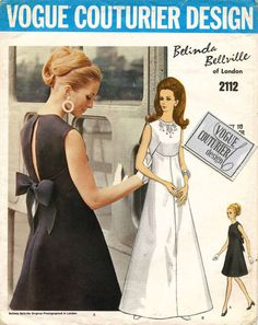 Vintage Sewing Patterns - Vogue 2112 Vintage Vogue Couturier BELINDA BELLVILLE of London Evening DRESS or Bridal Gown Sewing Pattern. Pattern 2112 has been cut and is complete. Size 10 which will fit a 32 bust and a 34 hip. Robes Vintage, Vintage Outfits, Vintage Fashion, Evening Dress Patterns, Vintage Dress Patterns, Estilo Jackie Kennedy, Patron Vintage, Moda Vintage, Vogue Sewing Patterns