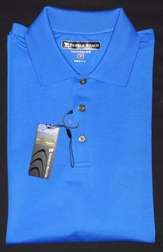 Nwt Pebble Beach Golf Shirt Performance Moisture Wicking Royal Blue Stay Dry Med Pebblebeach