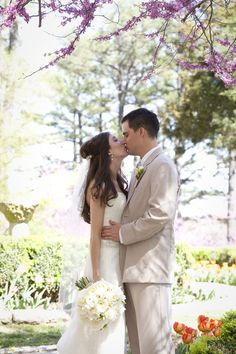A beautiful Garden Wedding with the groom wearing the Tan Rapture Suit from http://www.mytuxedocatalog.com/tuxedos/C981-Tan-Rapture-Suit/!