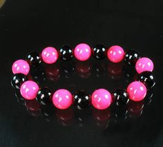 Bicolors Hot Pink & Black Chinese Jade Gem Buddhist Prayer Mala Beads Bracelet