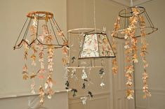 Stripped lampshades and paper flowers