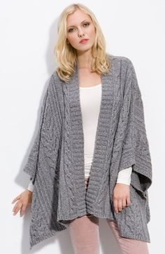 Free shipping and returns on Caslon® Cable Knit Swing Poncho at Nordstrom.com. Classic cables and chunky ribbed stitches texture a warm, lofty poncho designed with an open front for added swing and swirl.