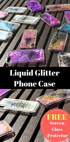 2 in 1 Waterfall Phone Case (Green) + Screen Protector Compatible with iPhone 7 / iPhone 8 Glitter Phone Cases, Cool Phone Cases, Iphone 8 Plus, Iphone 7, Clean Phone, Gift Card Balance, Plastic Design, Glass Screen Protector, Free
