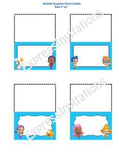 Bubble Guppies Food Tent / Place Cards $2.99