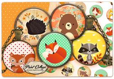 PRINTABLE DOWNLOAD Forest Cute Animals,Autumn - Digital Collage Sheet Printable images for Bottle Cap Cabochon images 4 sizes 1.5 inch 16 mm 12 mm 1 inch circle / PRINTABLE DOWNLOAD
