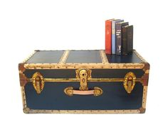 Vintage nautical steamer trunk c.1950s Navy blue travel trunk with brass hardware Leather handles Vintage luggage for storage Vintage trunk